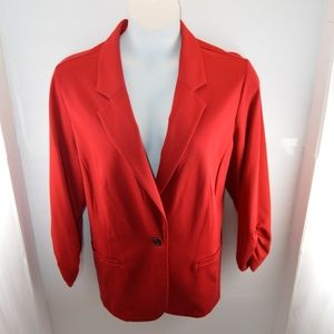 Style & Co Red Stretch Suit Jacket